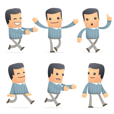 flurry: set of customer character in different interactive  poses Illustration
