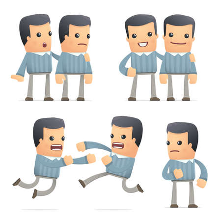 set of customer character in different interactive  poses Ilustração