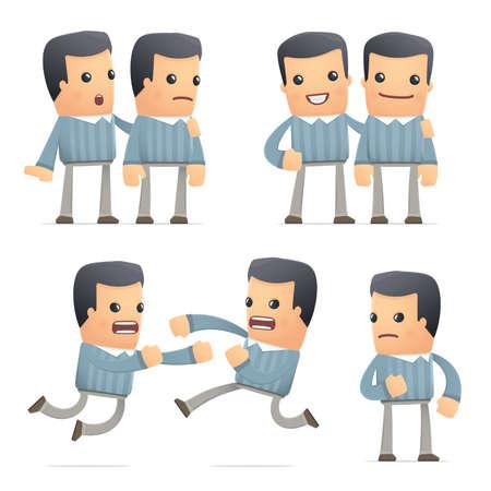 set van klant karakter in verschillende interactieve poses Stock Illustratie
