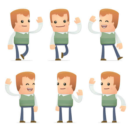 set of neighbor character in different interactive  poses Vector