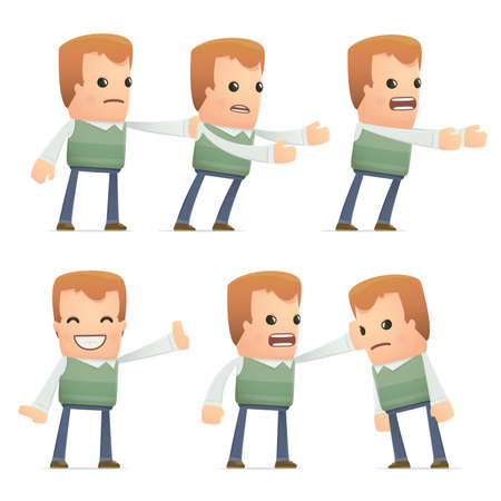 embargo: set of neighbor character in different interactive  poses