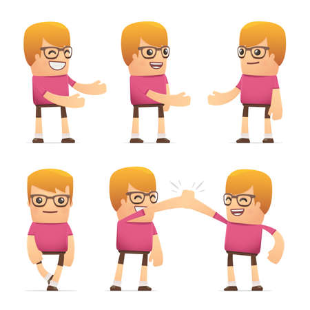 set of dude character in different interactive  poses Vector