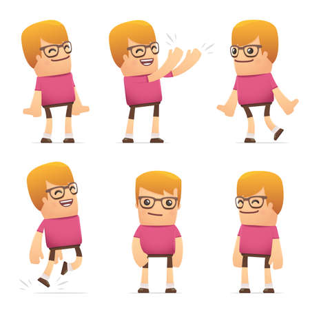 set of dude character in different interactive  poses