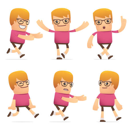 flurry: set of dude character in different interactive  poses