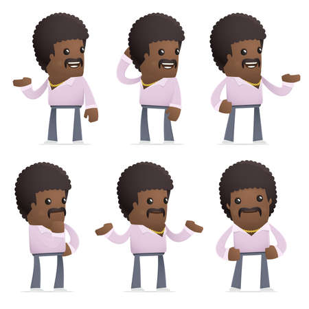 disco dancer: set of disco man character in different interactive  poses Illustration