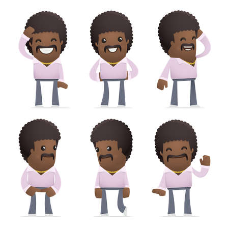 set of disco man character in different interactive  poses Illustration