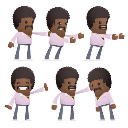 embargo: set of disco man character in different interactive  poses Illustration