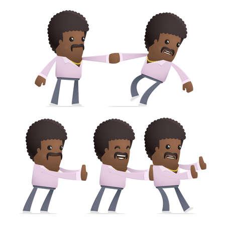 ensemble de caractère disco homme dans différentes poses interactifs