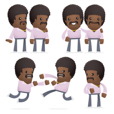 hassle: set of disco man character in different interactive  poses Illustration
