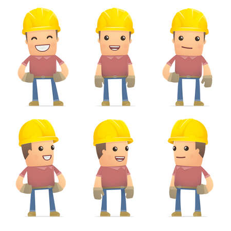 set of builder character in different interactive  poses Vector