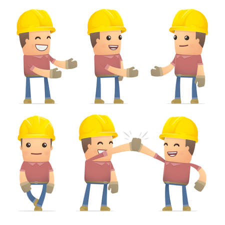 construct: set of builder character in different interactive  poses