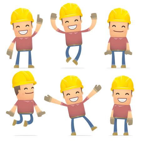 ingeniero caricatura: conjunto de caracteres constructor en diferentes poses interactivos Vectores