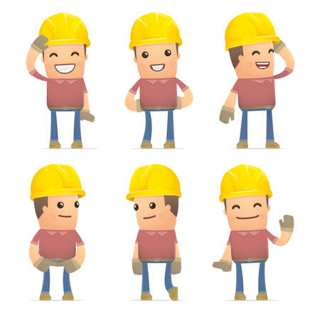 embarrassment: set of builder character in different interactive  poses