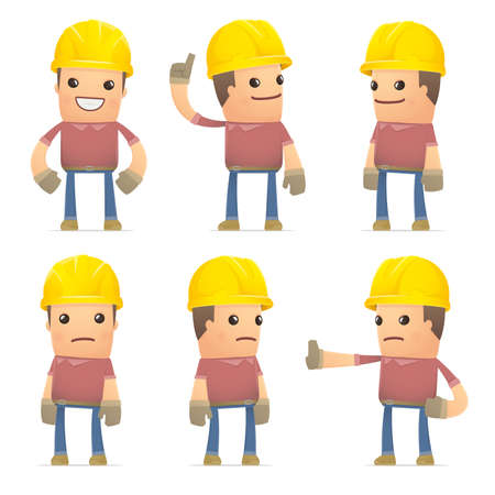hypocrite: set of builder character in different interactive  poses