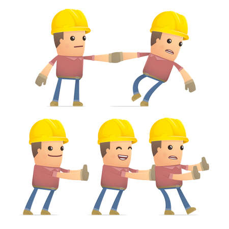 recondition: set of builder character in different interactive  poses