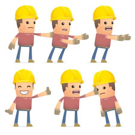 embargo: set of builder character in different interactive  poses