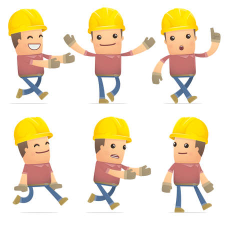 flurry: set of builder character in different interactive  poses