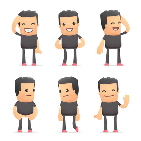 discomfiture: set of bad guy character in different interactive  poses