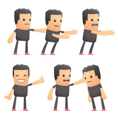 embargo: set of bad guy character in different interactive  poses