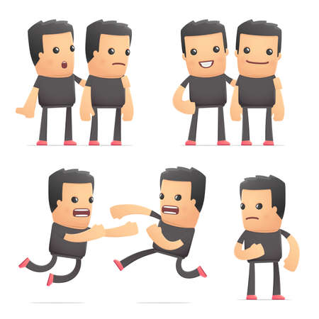 rowdy: set of bad guy character in different interactive  poses