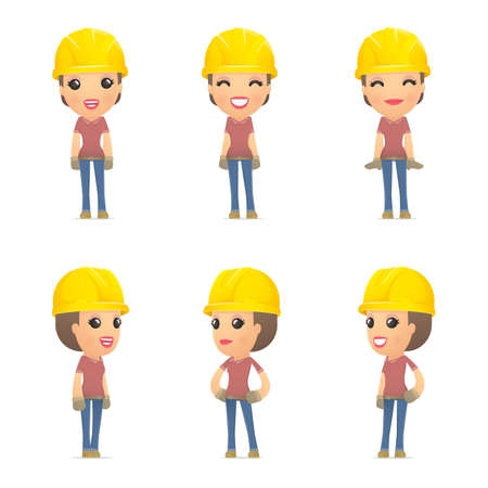 set builder girl of character in different interactive  poses Illustration