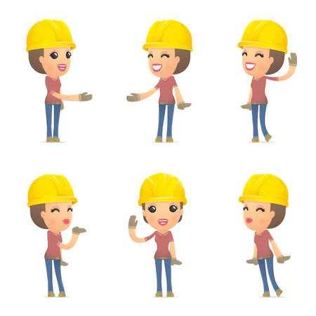 helmets: set builder girl of character in different interactive  poses Illustration