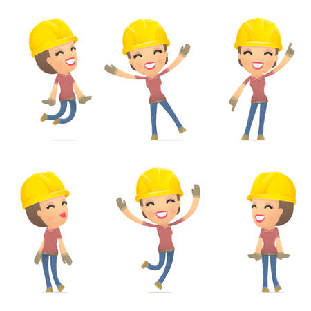 caricature: set builder girl of character in different interactive  poses Illustration