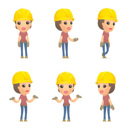 woman engineer: set builder girl of character in different interactive  poses Illustration