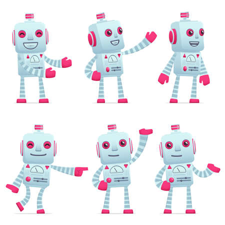 explaining: set of old robot character in different interactive  poses Illustration