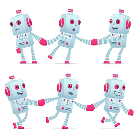 compel: set of old robot character in different interactive  poses Illustration