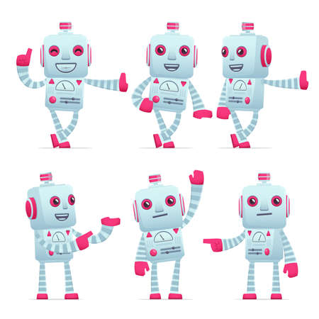 lean machine: set of old robot character in different interactive  poses Illustration