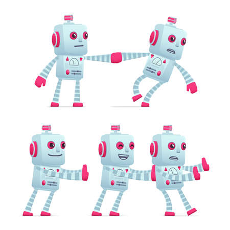 robot with shield: set of old robot character in different interactive  poses Illustration