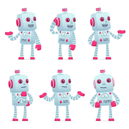 retro robot: set of old robot character in different interactive  poses Illustration