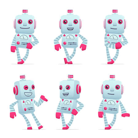 talking robot: set of old robot character in different interactive  poses Illustration
