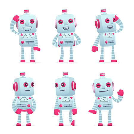 embarrassment: set of old robot character in different interactive  poses Illustration