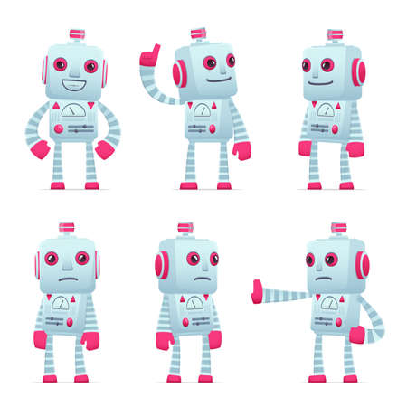 hypocrite: set of old robot character in different interactive  poses Illustration