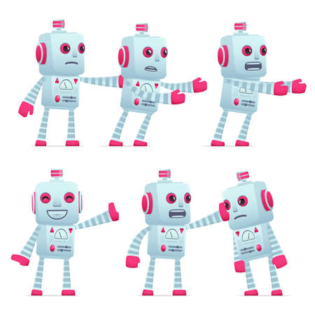 set of old robot character in different interactive  poses Illustration