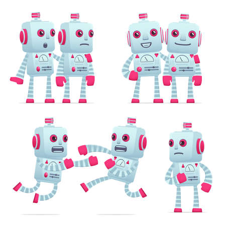 hassle: set of old robot character in different interactive  poses Illustration