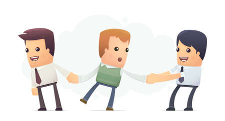 businessmen try to attract client. conceptual illustration Vector