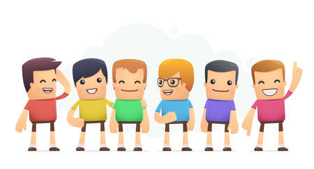 boys in colored T-shirts. conceptual illustration Vector