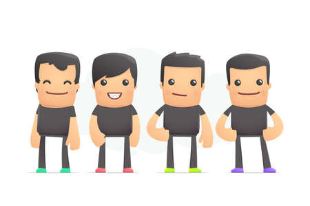 guys in colored sneakers. conceptual illustration Vector