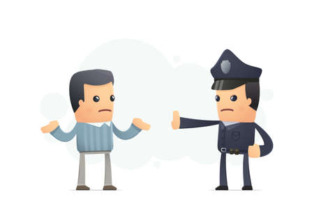 gorra polic�a: polic�a vigila el territorio. ilustraci�n conceptual Vectores