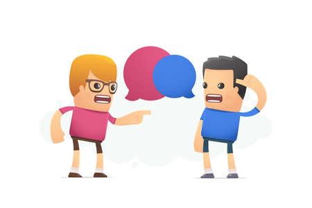 dispute: dispute between two designers. conceptual illustration