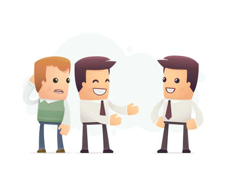 manager compliments himself. conceptual illustration Vector