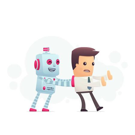 robot controls man. conceptual illustration Vector