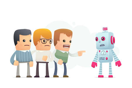 community accuses robot. conceptual illustration Vector