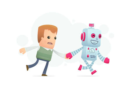 robot runs with a man. conceptual illustration Vector