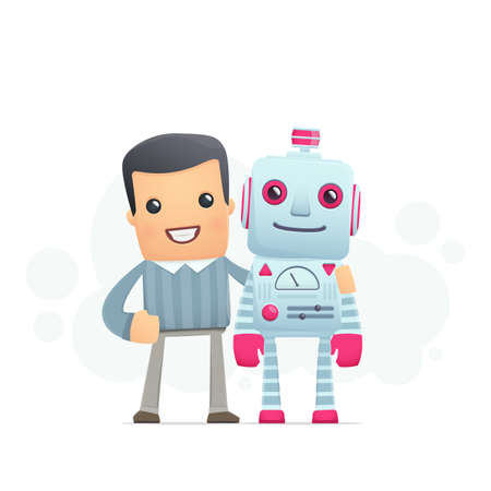 talking robot: man and the robot best friends. conceptual illustration