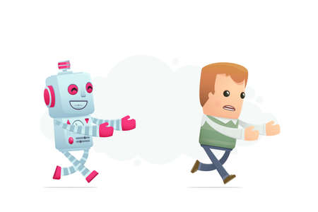 robot trying to catch up man. conceptual illustration Vector
