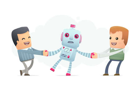 people want to get himself the robot.. conceptual illustration Vector